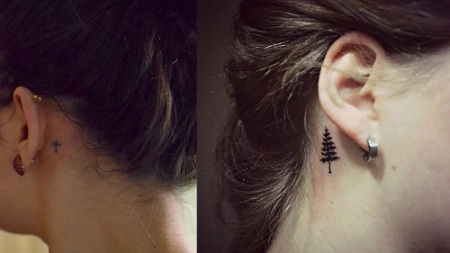 hình xăm mini sau tai