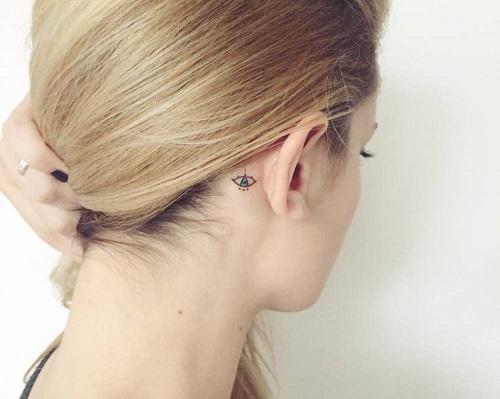 hình xăm nhỏ sau tai