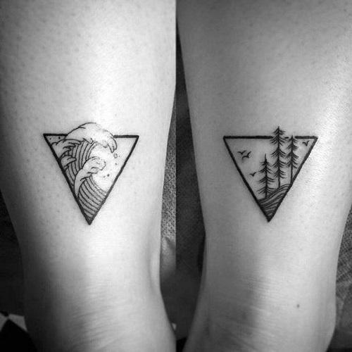 hình xăm tam giác ở cổ chân
