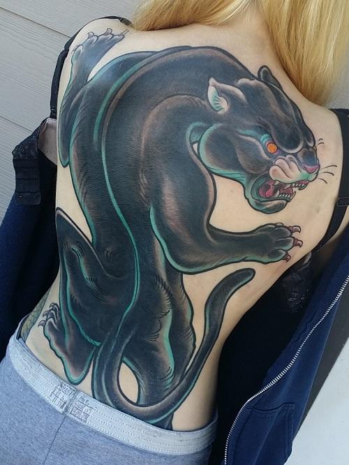 tattoo báo đen cho nữ