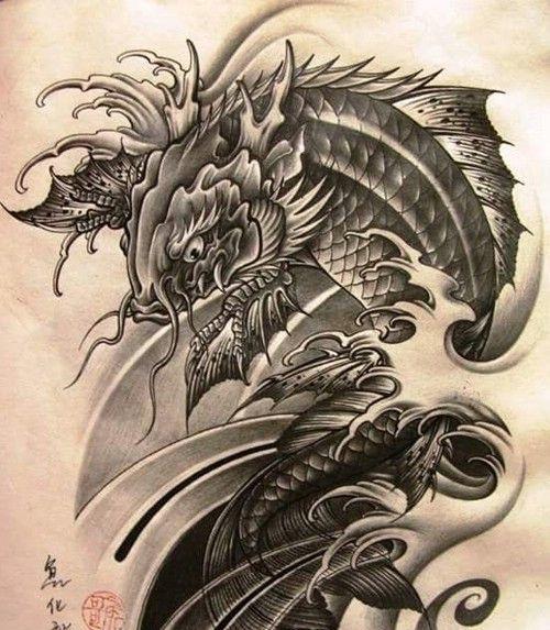 hình xăm cá chép hóa rồng