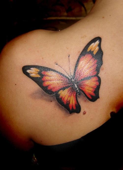 hình xăm bướm 3d