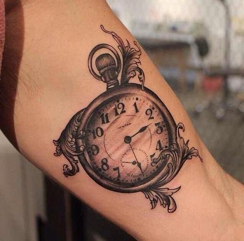 hình xăm đồng hồ cổ
