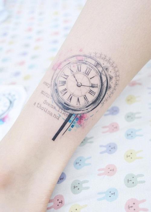 hình xăm đồng hồ nhỏ đẹp
