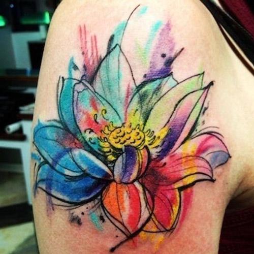 Xăm hình hoa sen cách điệu