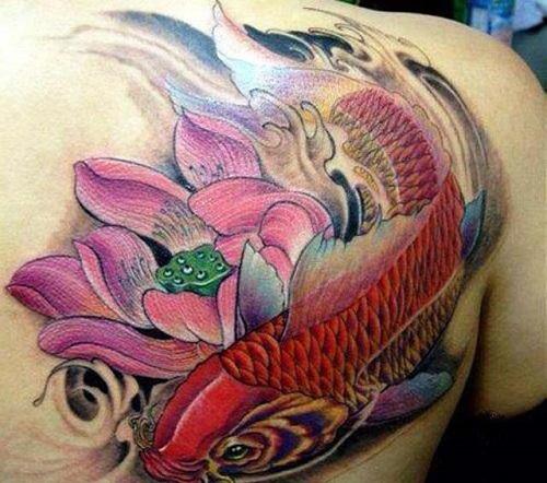 xăm hình hoa sen và cá chép