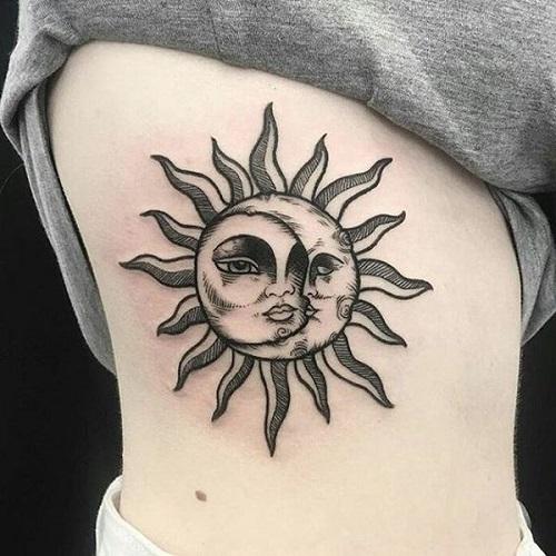 hình xăm mặt trời và mặt trăng