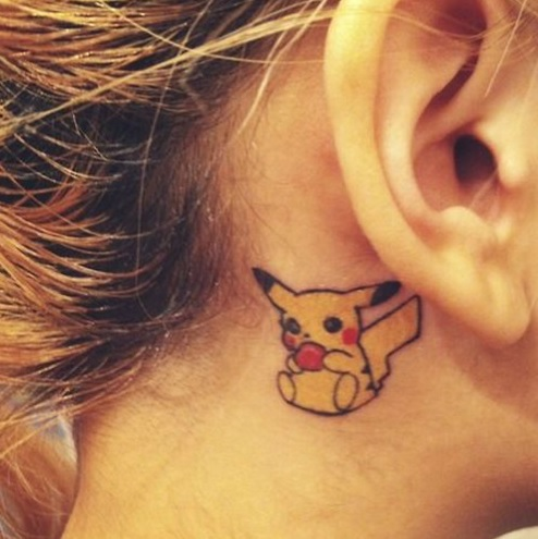 hình xăm pikachu phần tai