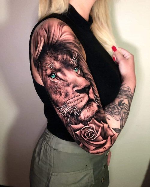 hình xăm sư tử ở tay