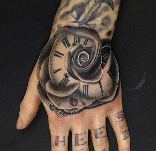 tattoo đồng hồ hoa hồng