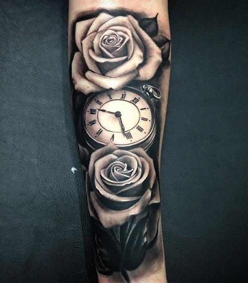xăm đồng hồ hoa hồng