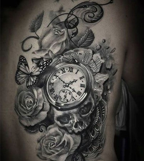 hình xăm đồng hồ la mã đẹp