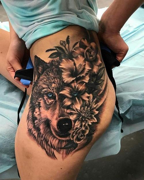 hình xăm chó sói đẹp nhất