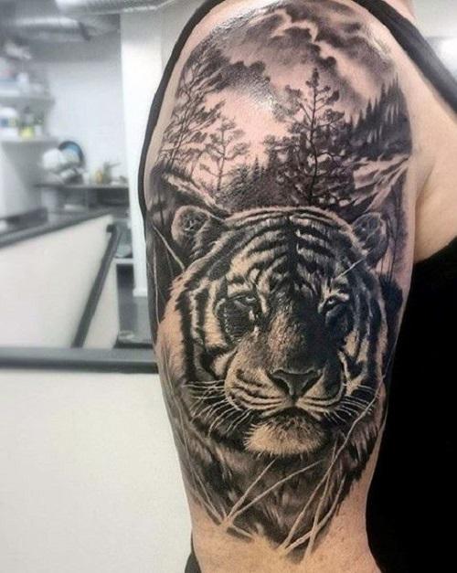 hình xăm con hổ ở bắp tay