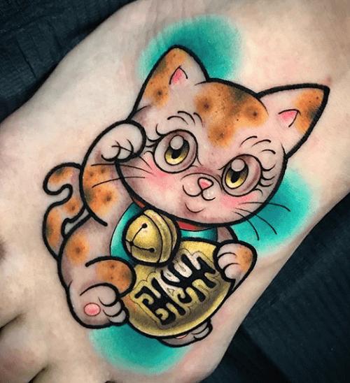 tatttoo mèo thần tài