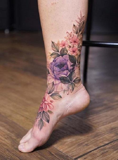 hình xăm ở cổ chân nữ đẹp